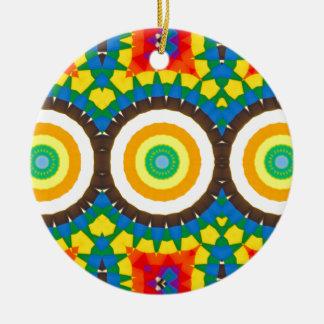 Ornement Rond En Céramique Motif coloré de point de kaléidoscope