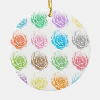 Ornement Rond En Céramique Motif coloré de roses
