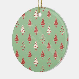 Ornement Rond En Céramique Motif d'arbres de Noël