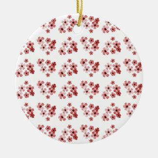 Ornement Rond En Céramique Motif de fleurs rouge