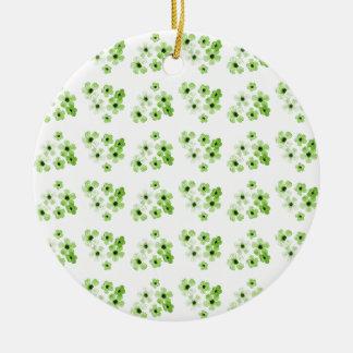 Ornement Rond En Céramique Motif de fleurs vert