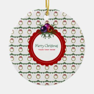 Ornement Rond En Céramique Motif de guirlande de Noël avec la coutume de houx