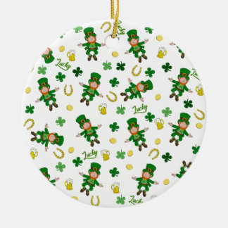 Ornement Rond En Céramique Motif de Jour de la Saint Patrick
