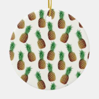 Ornement Rond En Céramique Motif de papier peint d'ananas