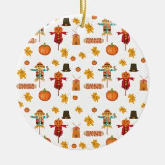 Ornement Rond En Céramique Motif de thanksgiving
