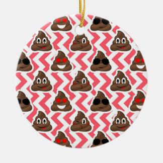 Ornement Rond En Céramique Motif de zigzag rouge d'Emoji de dunette