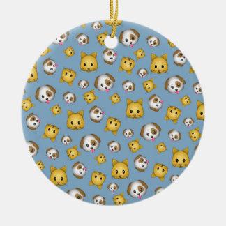 Ornement Rond En Céramique Motif d'Emoji de chats et de chiens