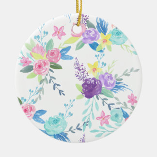 Ornement Rond En Céramique Motif floral de couleur en pastel d'aquarelle