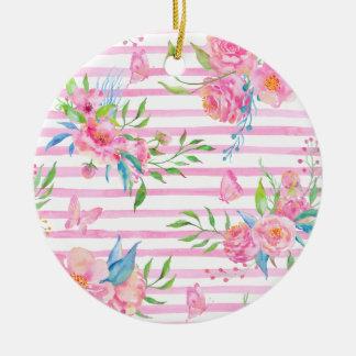 Ornement Rond En Céramique Motif floral rose d'aquarelle avec des bandes