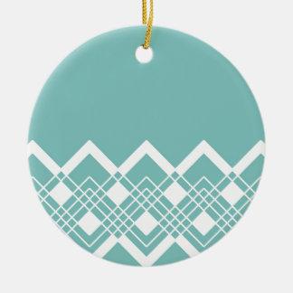 Ornement Rond En Céramique Motif géométrique abstrait - bleu et blanc