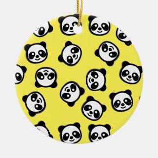 Ornement Rond En Céramique Motif noir et blanc de bande dessinée de panda