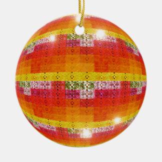 Ornement Rond En Céramique Motif orange de boule de disco