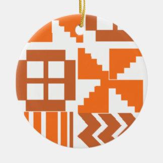 Ornement Rond En Céramique Motif orange de Khanga