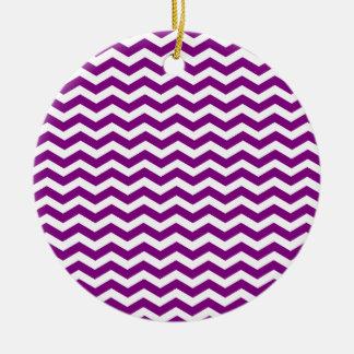 Ornement Rond En Céramique Motif pourpre et blanc violet de Chevron de zigzag