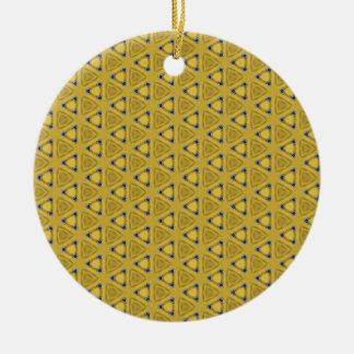 Ornement Rond En Céramique Motif triangulaire jaune