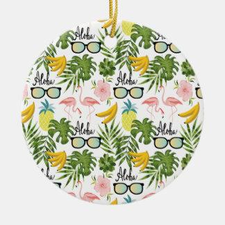 Ornement Rond En Céramique Motif tropical de lunettes de soleil roses de