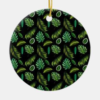 Ornement Rond En Céramique Motif tropical Tiki floral fait main de feuille