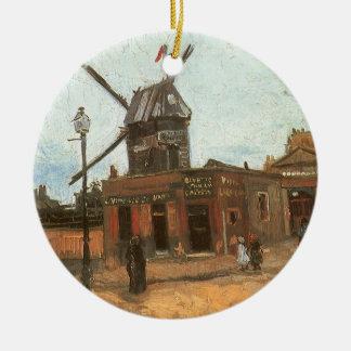 Ornement Rond En Céramique Moulin de la Galette par Vincent van Gogh, moulin