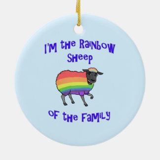 Ornement Rond En Céramique Moutons d'arc-en-ciel de la famille