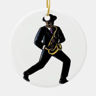 Ornement Rond En Céramique Musicien de jazz jouant le saxophone Scratchboard
