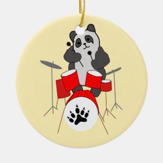 Ornement Rond En Céramique musicien de panda