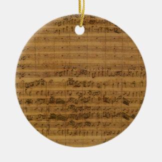 Ornement Rond En Céramique Musique de feuille vintage par Johann Sebastian