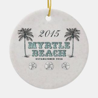 Ornement Rond En Céramique Myrtle Beach vintage personnalisé la Caroline du