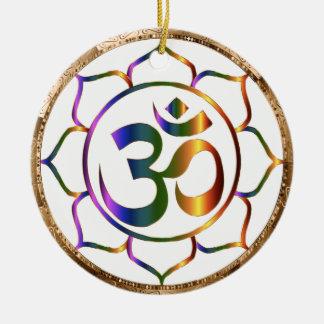 Ornement Rond En Céramique Namaste Aum (OM) et Lotus avec la frontière de