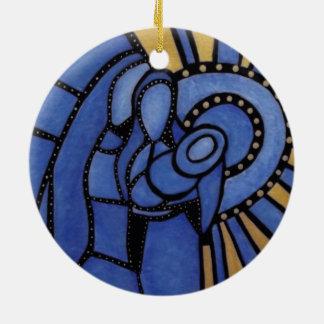 Ornement Rond En Céramique Nativité bleue moderne Jésus Mary Joseph de Noël