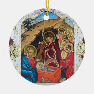 Ornement Rond En Céramique Nativité de notre seigneur Ornament