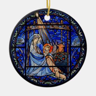 Ornement Rond En Céramique Nativité de style en verre souillé dans le bleu