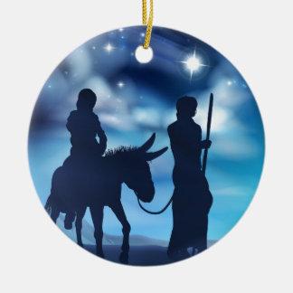 Ornement Rond En Céramique Nativité Mary et illustration de Noël de Joseph