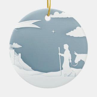 Ornement Rond En Céramique Nativité Mary Joseph et Bethlehem de Noël