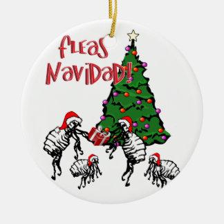 Ornement Rond En Céramique NAVIDAD de PUCES - Puces de Noël et arbre de Noël