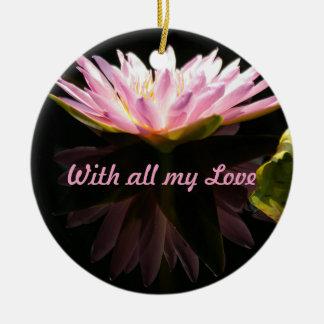 Ornement Rond En Céramique Nénuphar rose de Lotus 'avec tout mon Love
