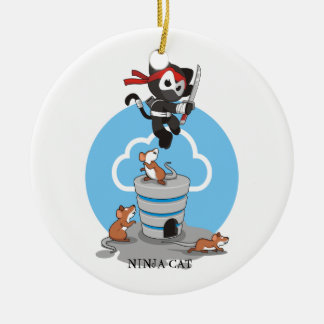 Ornement Rond En Céramique Ninja Kitty avec des souris