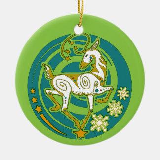 Ornement Rond En Céramique Noël 2017 de renne de Holidaze de vison