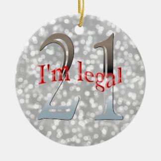 Ornement Rond En Céramique Noël argenté de Bokeh de 21ème anniversaire