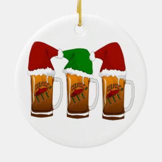 Ornement Rond En Céramique Noël Cerveza d'amis de Tres