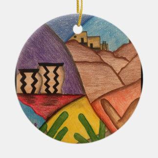 Ornement Rond En Céramique Noël coloré de désert de sud-ouest d'arc-en-ciel
