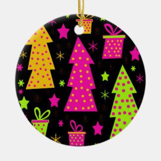 Ornement Rond En Céramique Noël coloré et espiègle