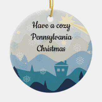 Ornement Rond En Céramique Noël confortable de la Pennsylvanie souhaite