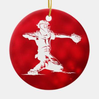 Ornement Rond En Céramique Noël d'attrapeur de base-ball