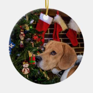 Ornement Rond En Céramique Noël de beagle