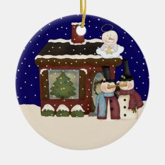 Ornement Rond En Céramique Noël de bébé d'ange