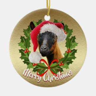 Ornement Rond En Céramique Noël de casquette de Père Noël de daine de chèvre