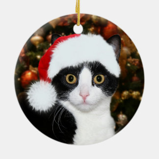 Ornement Rond En Céramique Noël de chat de smoking