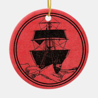 Ornement Rond En Céramique Noël de couverture de livre de Nimrod de