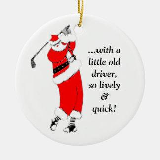 Ornement Rond En Céramique Noël de golf