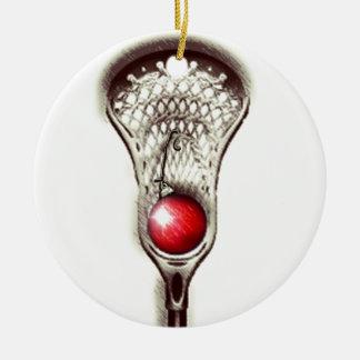 Ornement Rond En Céramique Noël de lacrosse